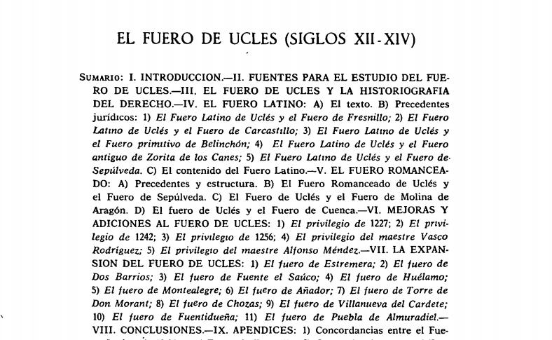 El fuero de Uclés (siglos XIII-XIV)
